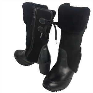 Pajar Black Suede Leather Heeled Lined Boots 9.5